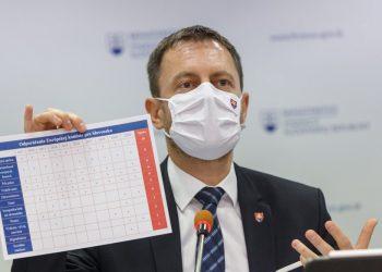 Minister financií Eduard Heger počas tlačovej konferencie, na ktorej predstavili Národný integrovaný reformný plán - Moderné a úspešné Slovensko (Foto: SITA/Branislav Bibel)