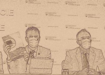 Zľava: Minister financií Eduard Heger a riaditeľ Útvaru hodnoty za peniaze Štefan Kišš počas tlačovej konferencie, na ktorej predstavili Národný integrovaný reformný plán - Moderné a úspešné Slovensko (Foto: SITA/Branislav Bibel, upravené ISKRA)