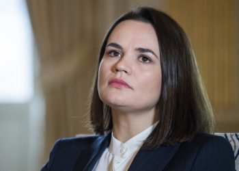 """Samozvaná """"prezidentka"""" Bieloruska Svjatlana Cichanovská (Foto: SITA/Claudio Bresciani/TT News Agency via AP)"""